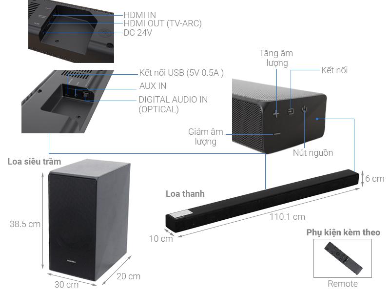 Thông số kỹ thuật Loa thanh soundbar Samsung 5.1 HW-N650/XV 360W