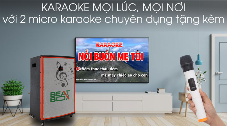 Thỏa sức hát karaoke trên Dàn karaoke di động Acnos KBZ15W 450W