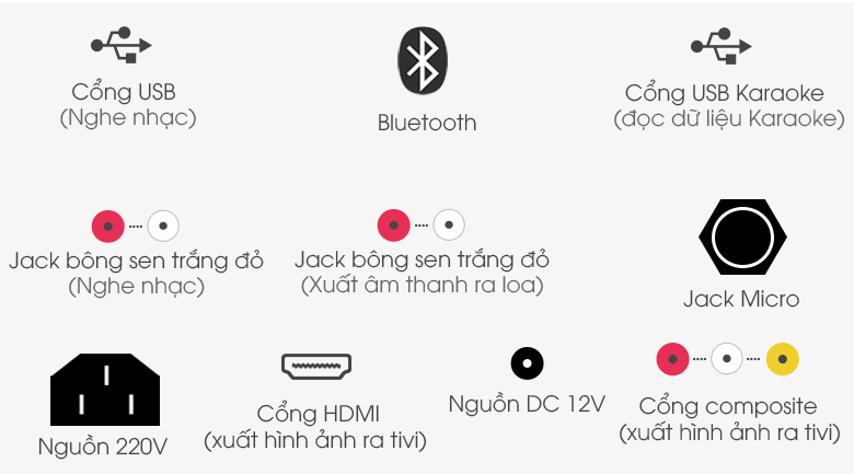 Kết nối được với nhiều loại thiết bị khác nhau trên Dàn karaoke di động Acnos KBZ15W 450W