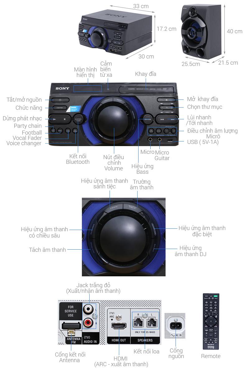 Thông số kỹ thuật Dàn âm thanh Sony 2.0 MHC-M40D 120W