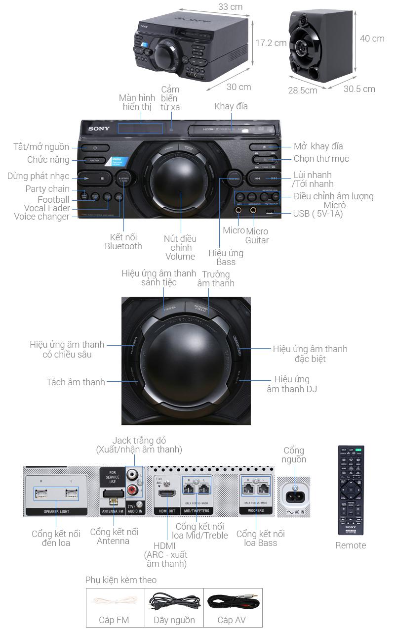 Thông số kỹ thuật Dàn âm thanh Sony 2.0 MHC-M60D 290W
