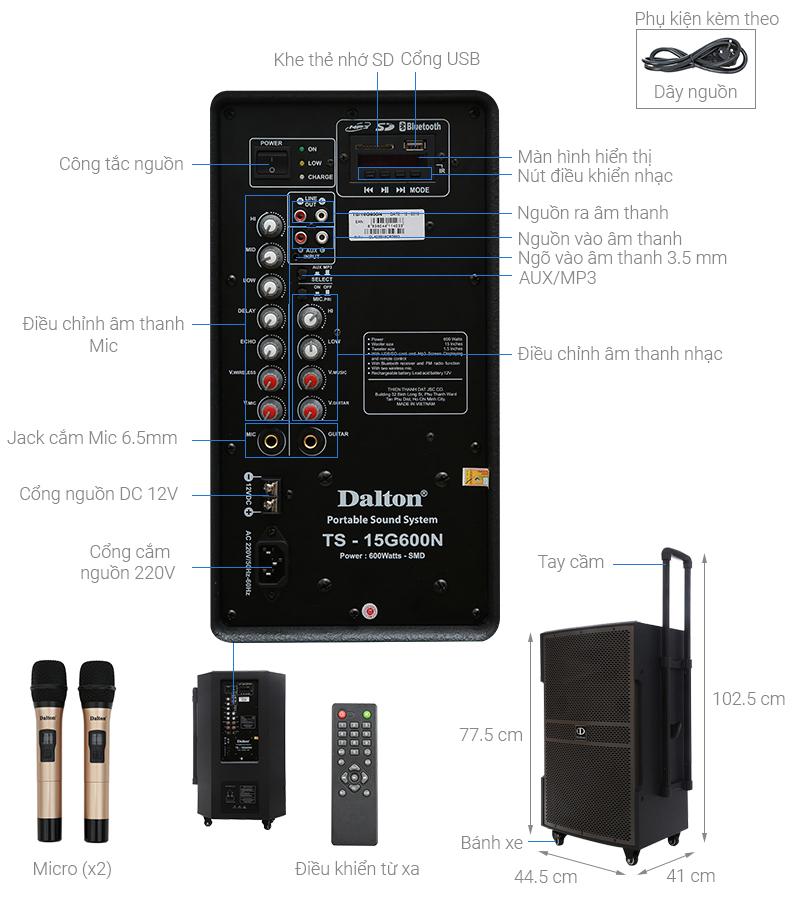 Thông số kỹ thuật Loa kéo karaoke Dalton TS-15G600N 600W