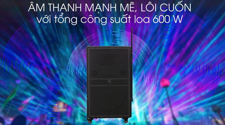 Âm thanh mạnh mẽ trên Loa kéo karaoke Dalton TS-15G600N 600W
