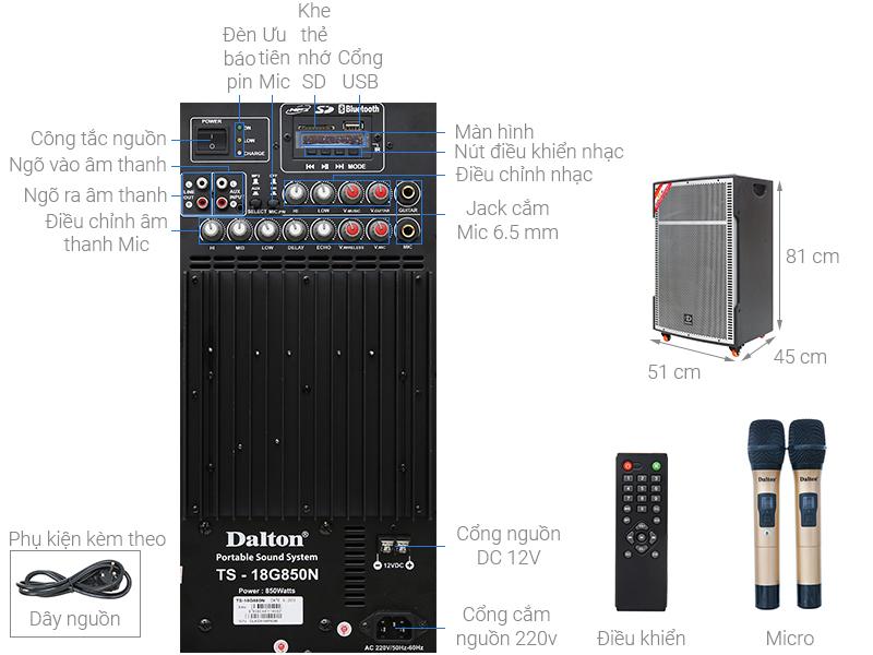 Thông số kỹ thuật Loa kéo karaoke Dalton TS-18G850N 850W