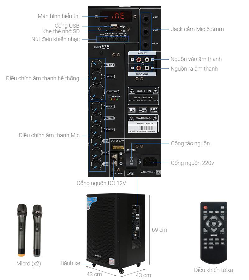 Thông số kỹ thuật Loa kéo karaoke Asanzo AL-7700 450 W