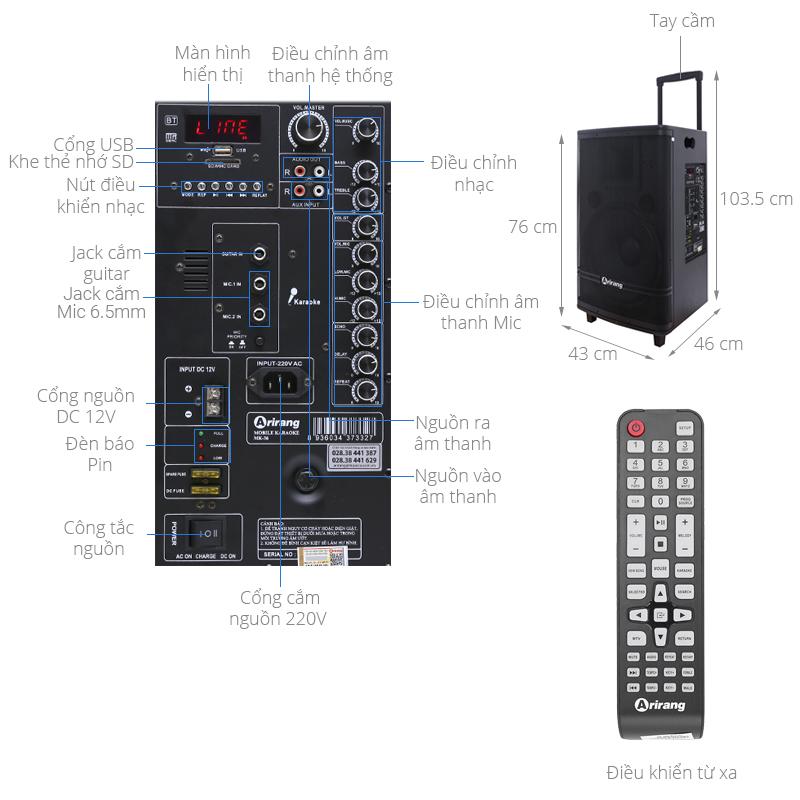 Thông số kỹ thuật Loa kéo karaoke Arirang MK-36 600W