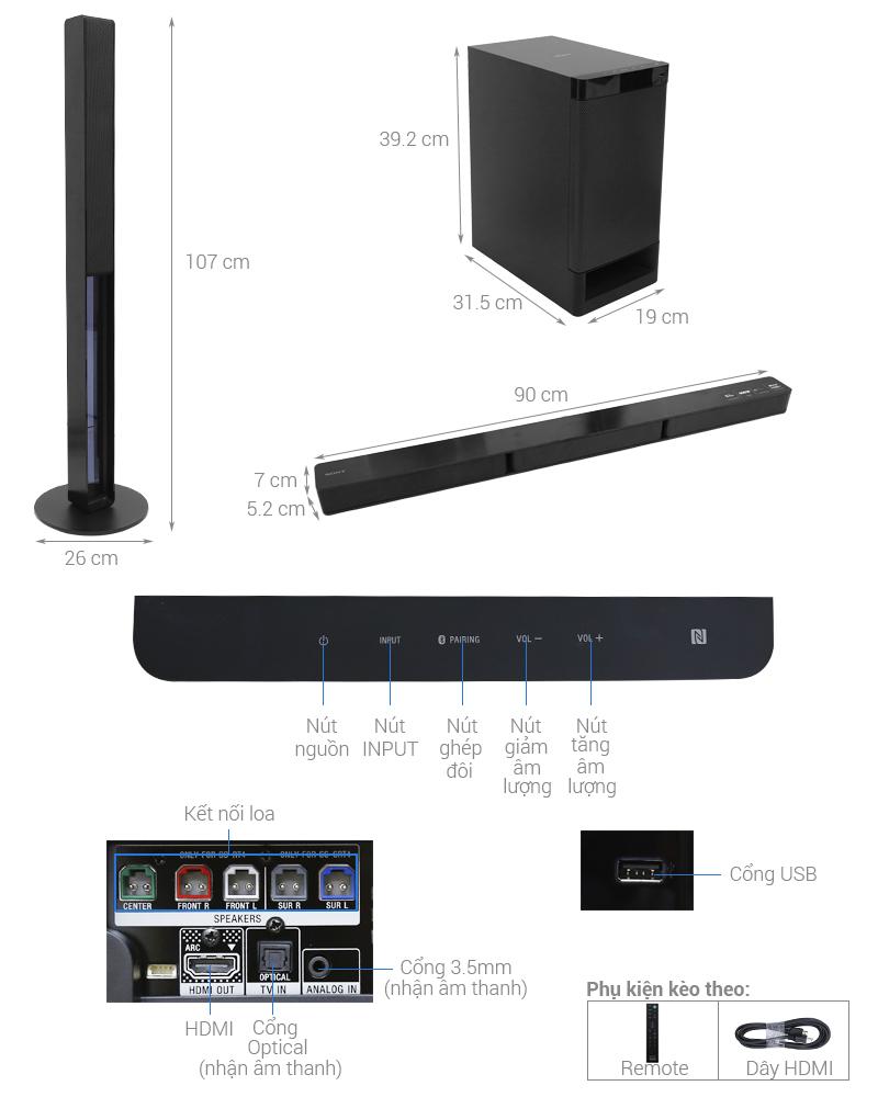Thông số kỹ thuật Dàn âm thanh Sony 5.1 HT-RT40 600W