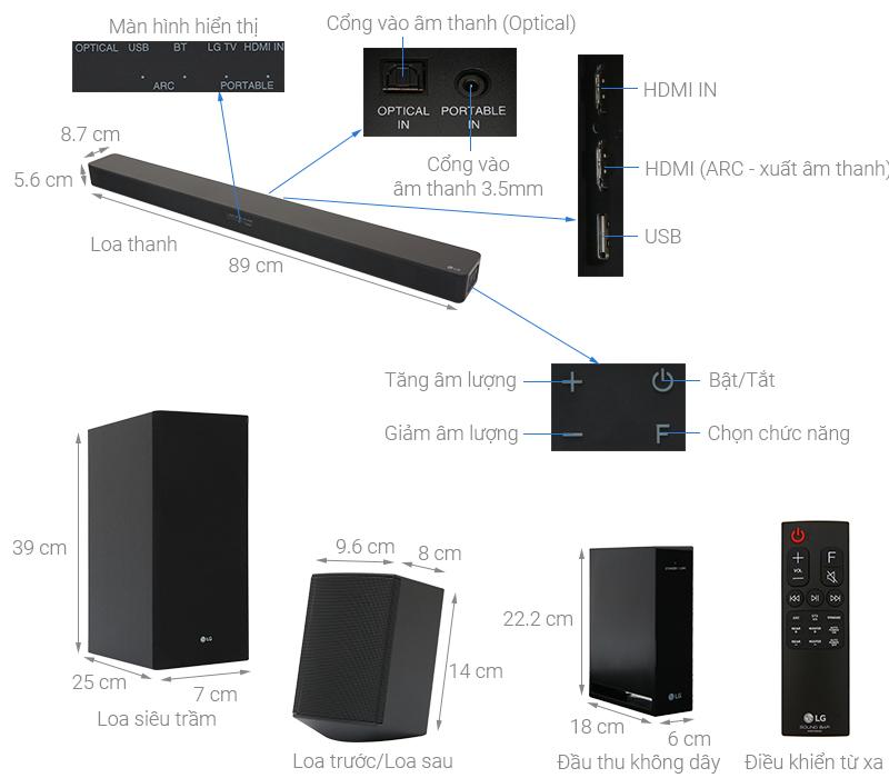 Thông số kỹ thuật Loa thanh soundbar LG 4.1 SK5R 480W