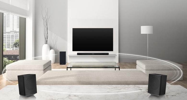 Loa thanh soundbar LG 4.1 SK5R 480W kết nối với loa vệ tinh không dây