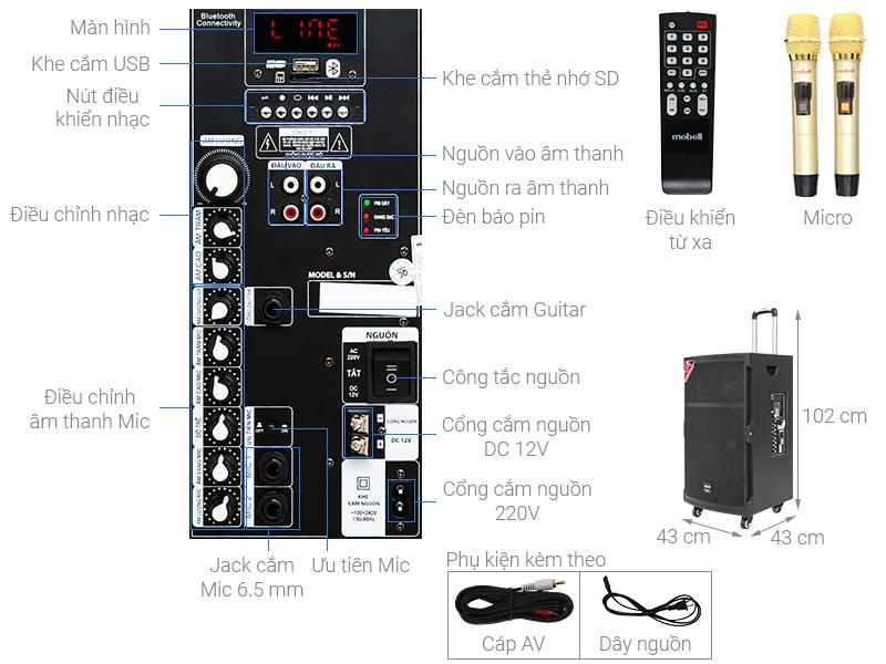 Thông số kỹ thuật Loa kéo Karaoke Mobell K1501 800W