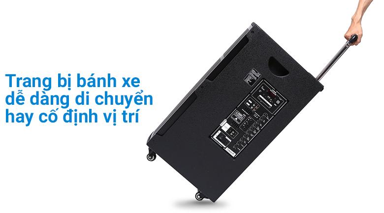 Trang bị bánh xe di chuyển dễ dàng trên Loa kéo Karaoke Mobell K1501