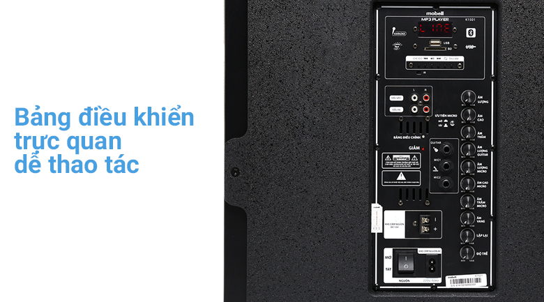 Bảng điều khiển trên Loa kéo Karaoke Mobell K1501