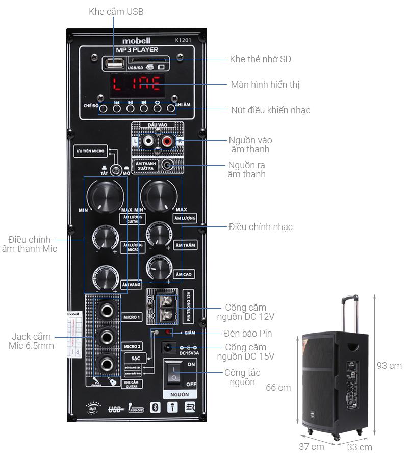Thông số kỹ thuật Loa kéo Karaoke Mobell K1201