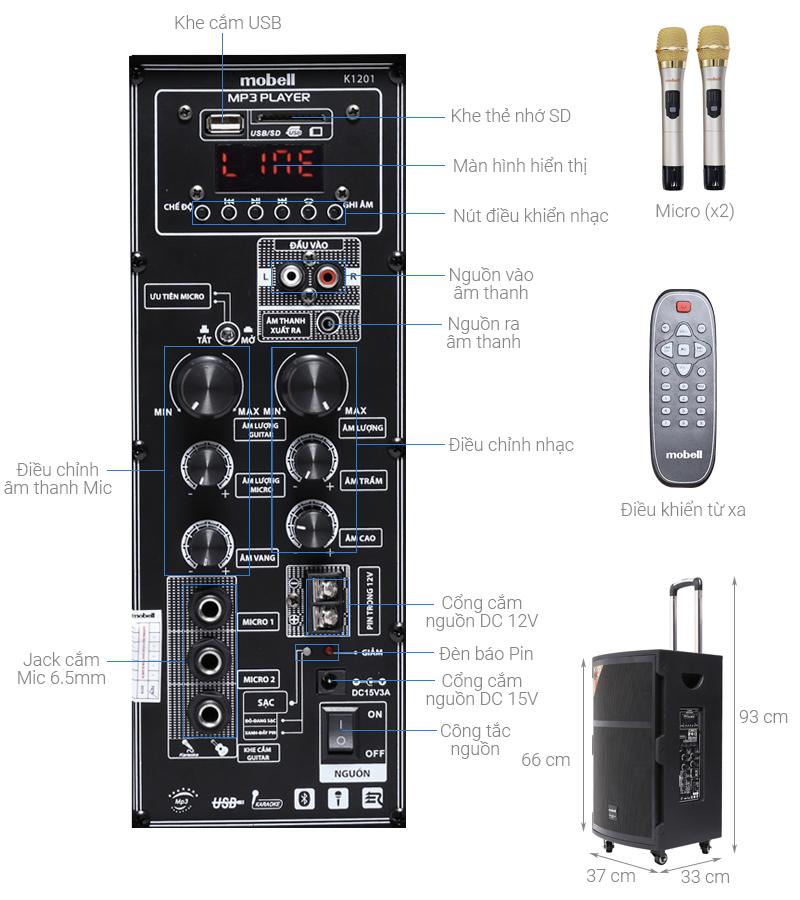 Thông số kỹ thuật Loa kéo Karaoke Mobell K1201 100W