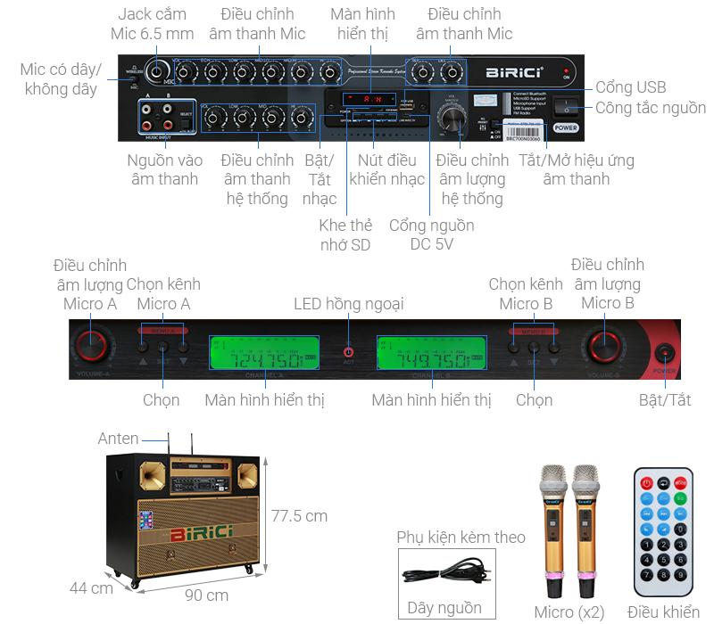 Thông số kỹ thuật Loa điện Karaoke Birici MX-700 450W