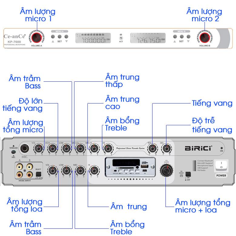 cách tùy chỉnh âm thanh loa điện Karaoke Birici MX-700 450W
