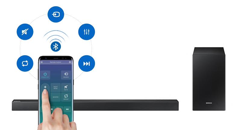 Loa thanh soundbar Samsung 2.1 HW-R450 200W - Điều khiển loa thanh qua điện thoại