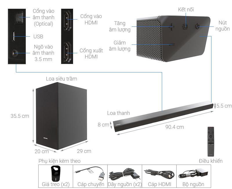Thông số kỹ thuật Loa thanh soundbar Samsung 2.1 HW-R550 320W
