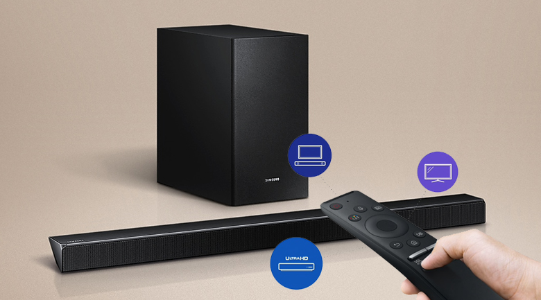 Loa thanh soundbar Samsung 2.1 HW-R550 320W - One Remote điều khiển