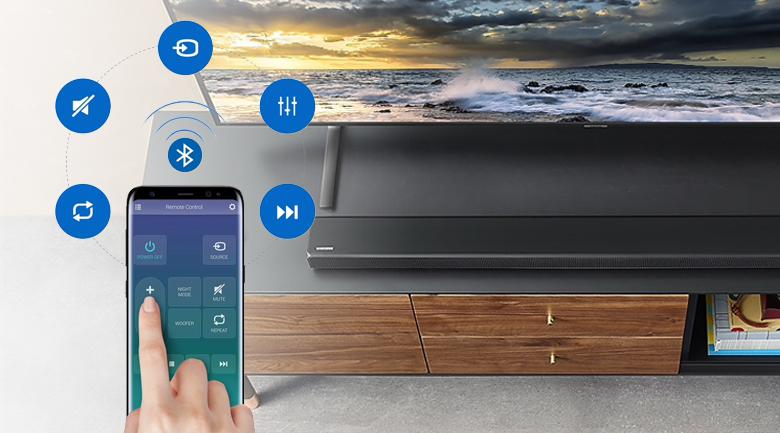 Loa thanh soundbar Samsung 2.1 HW-R550 320W - Điều khiển loa thanh qua điện thoại