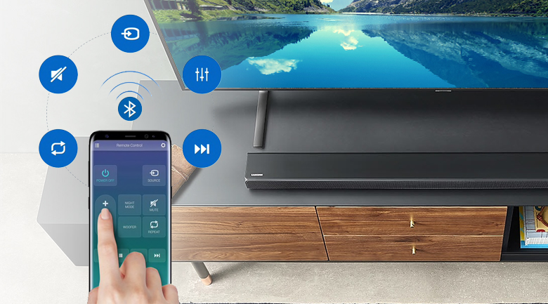Loa thanh soundbar Samsung 3.1 HW-R650 340W - Điều khiển loa thanh qua điện thoại