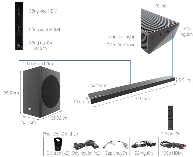 Thông số kỹ thuật Loa thanh soundbar Samsung 5.1 HW-Q60R