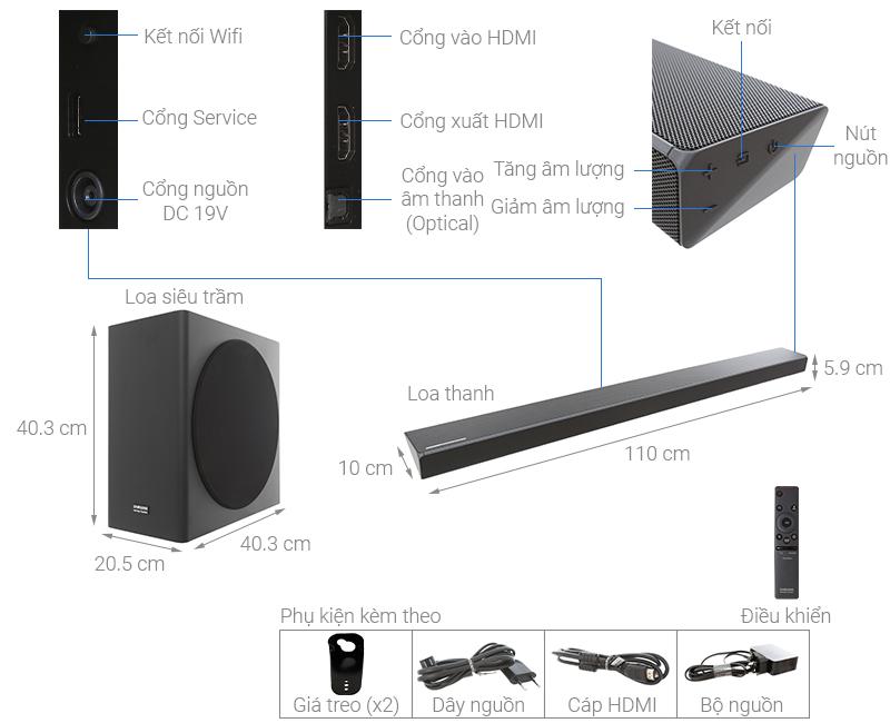 Thông số kỹ thuật Loa thanh soundbar Samsung 3.1.2 HW-Q70R 330W