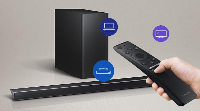 Loa thanh soundbar Samsung 3.1.2 HW-Q70R 330W - Điều khiển tối ưu với One Remote