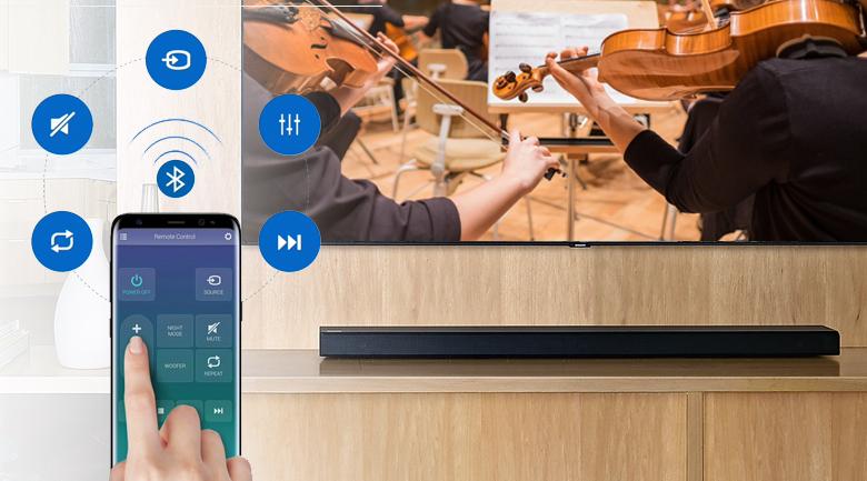 Loa thanh soundbar Samsung 3.1.2 HW-Q70R 330W - Điều khiển qua điện thoại
