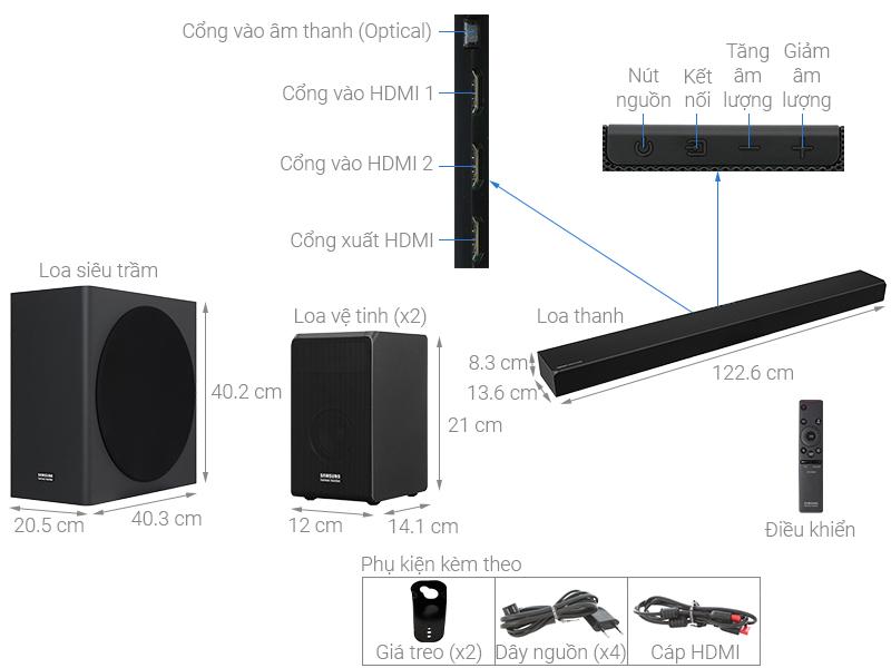 Thông số kỹ thuật Loa thanh soundbar Samsung 7.1.4 HW-Q90R 510W