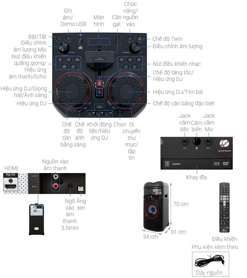 Thông số kỹ thuật Loa Karaoke LG OL55D 600W