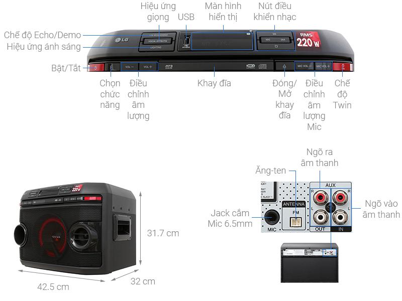 Thông số kỹ thuật Loa karaoke LG OL45 220W