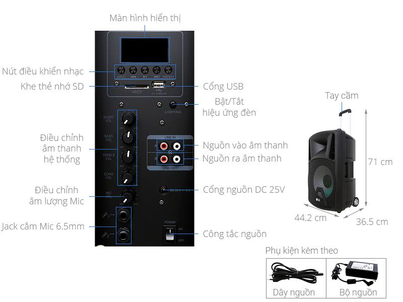 Thông số kỹ thuật Loa kéo karaoke LG RK4 80W