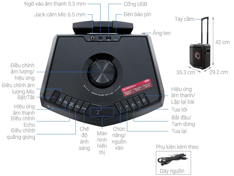 Thông số kỹ thuật Loa kéo karaoke LG RL2 50W