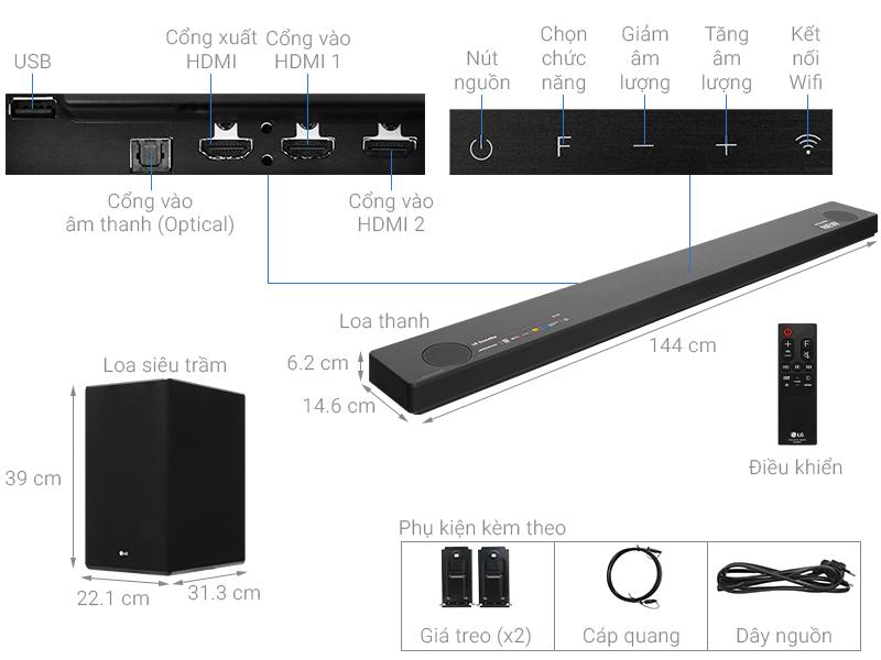 Thông số kỹ thuật Loa thanh soundbar LG 5.1.2 SL10Y 570W