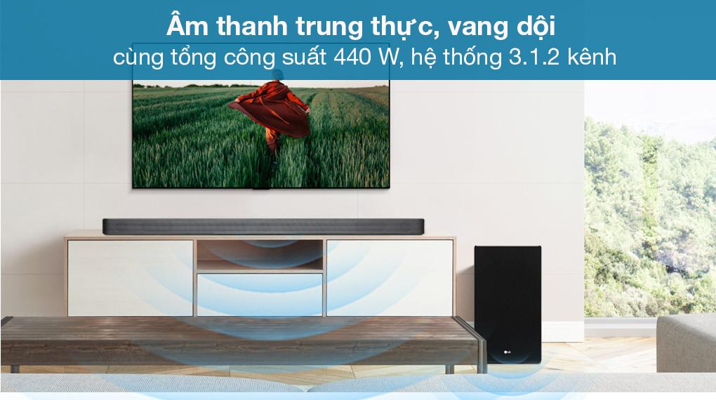 Loa thanh soundbar LG 3.1.2 SL8Y - Hệ thống âm thanh vòm 3.1.2 kênh đi cùng công suất lớn 440 W
