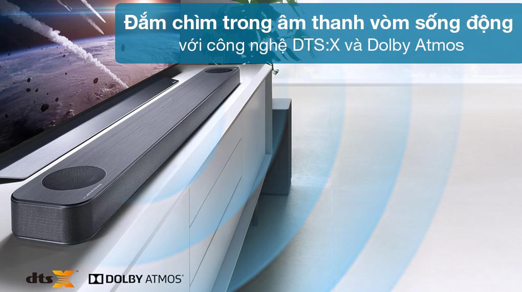 Loa thanh soundbar LG 3.1.2 SL8Y - Loa thanh soundbar LG 3.1.2 SL8Y 440W - Âm thanh sống động như đang trải nghiệm trực tiếp tại rạp chiếu nhờ công nghệ Dolby Atmos, DTS:X