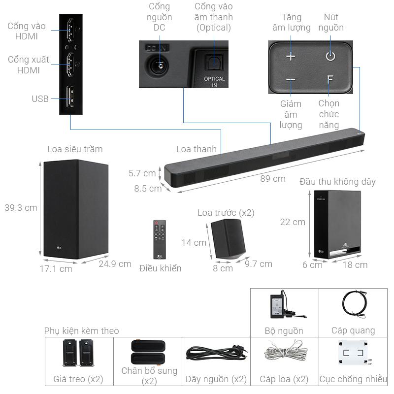 Thông số kỹ thuật Dàn âm thanh LG 4.1 SL5R 520W