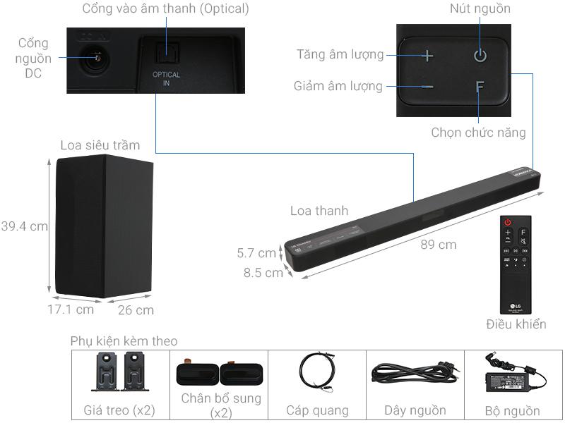 Thông số kỹ thuật Loa thanh soundbar LG 2.1 SL4 300W