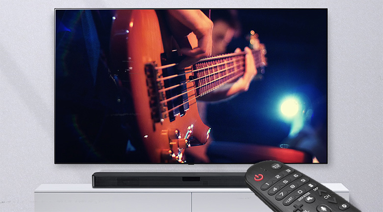 Trang bị remote điều khiển từ xa - Loa thanh soundbar LG 2.1 SL4 300W