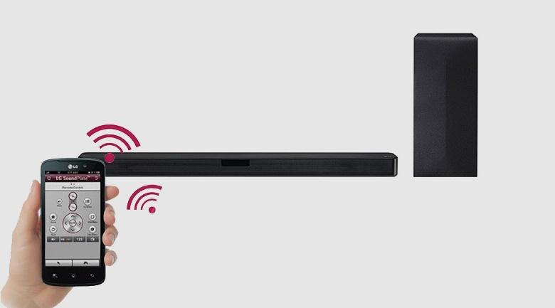 Điều khiển chức năng loa tiện lợi qua điện thoại với ứng dụng LG AV Remote hiện đại - Loa thanh soundbar LG 2.1 SL4 300W