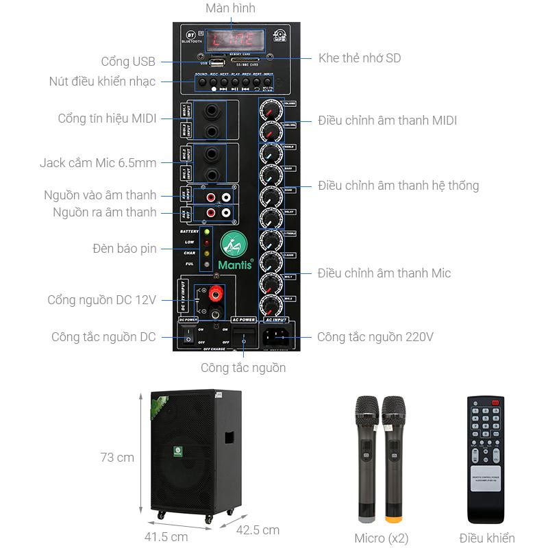 Thông số kỹ thuật Loa kéo karaoke Mantis MT15-ST1 600W