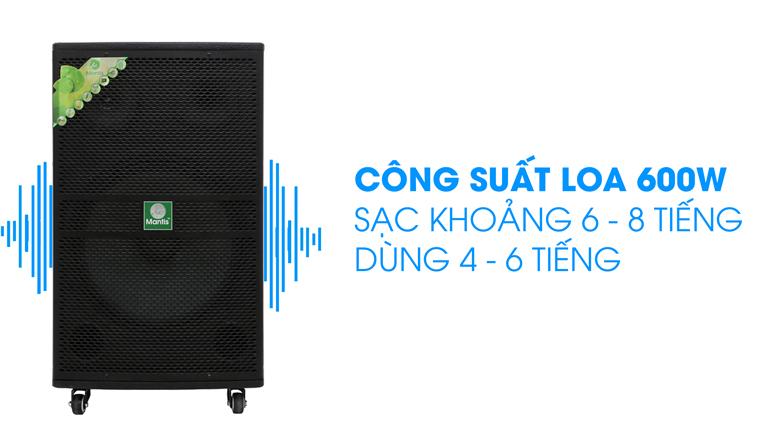 Loa kéo karaoke Mantis MT15-ST1 600W - Công suất loa