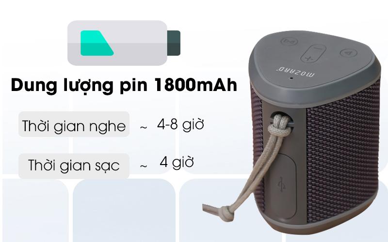 Loa Bluetooth Mozard Y550 Xám có dung lượng pin lớn