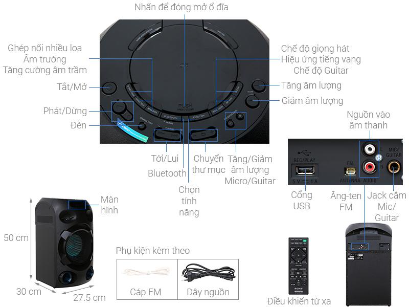Thông số kỹ thuật Dàn âm thanh Hifi Sony MHC-V02
