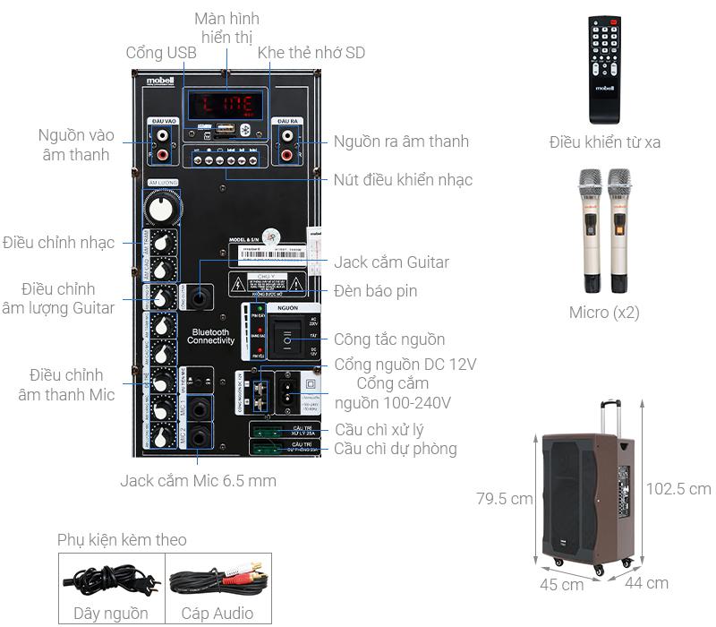 Thông số kỹ thuật Loa kéo Karaoke Mobell K1507 1000W