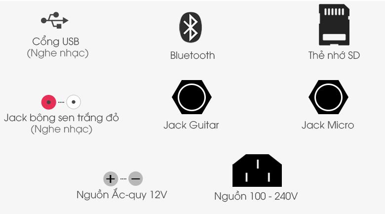 Loa kéo Karaoke Mobell K1507 1000W - Cổng kết nối