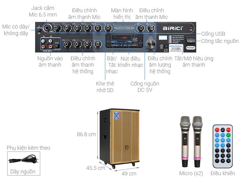 Thông số kỹ thuật Loa Điện Karaoke Birici MX-900 560W