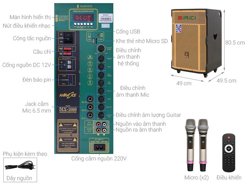 Thông số kỹ thuật Loa Kéo Karaoke Birici MX-1000 500W