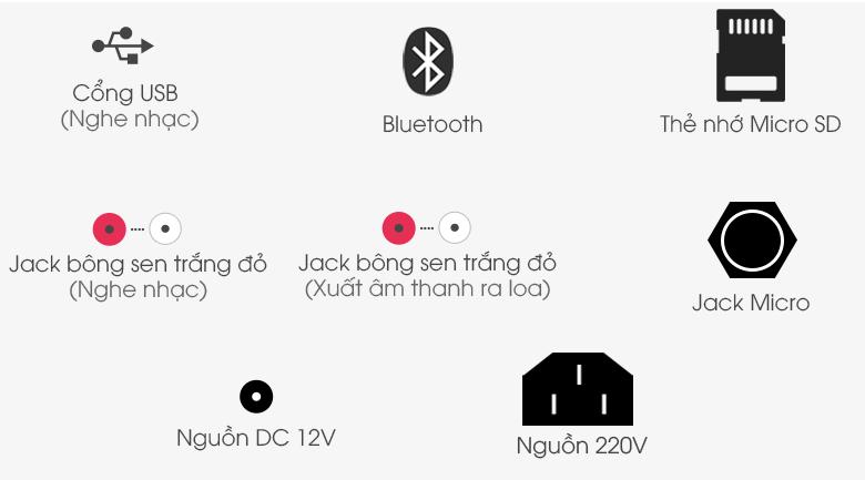 Loa Kéo Karaoke Birici MX-1000 500W - Cổng kết nối